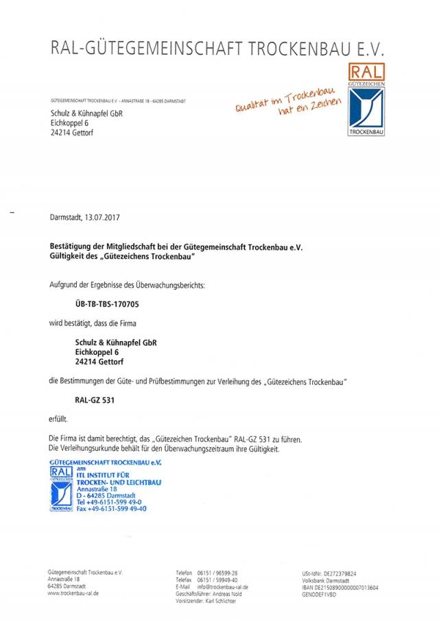 RAL Gütergemeinschaft Trockenbau e.V.