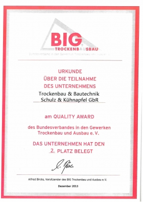 Big Trockenbau Quality Award