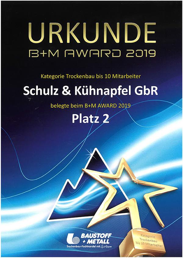 2. Platz bei den B+M Award 2019