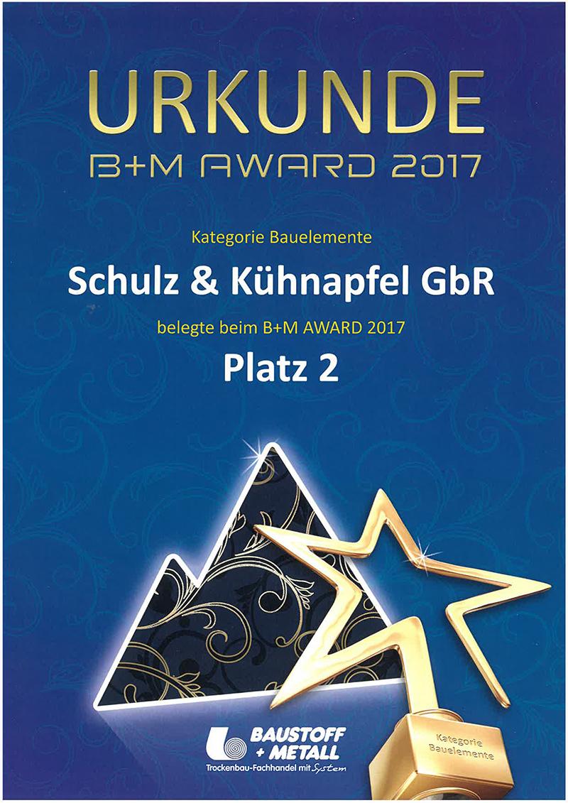 B+M Urkunde Schulz & Kühnapfel 2017